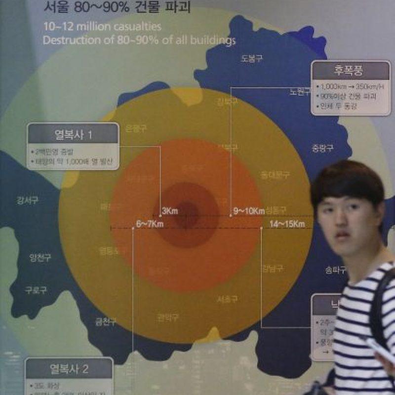 Esta imagen muestra el grado de destrucción de una bomba nuclear si detonara en Seúl. Se encuentra en el Museo Memorial de la capital surcoreana. Foto:AP