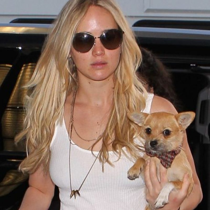 """3. """"Pippi"""" es el mejor amigo de Jennifer Lawrence. Su adorable mascota la acompaña a todos lados. Foto:Grosby Group"""