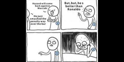 Aunque Eden Hazard falló un penal. Foto:Vía twitter.com/troll__football