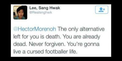 """""""La única alternativa que queda para ti es la muerte. Estás muerto ya. Nunca serás perdonado. Vivirás una vida maldita como futbolista"""" Foto:Vía Twitter.com"""