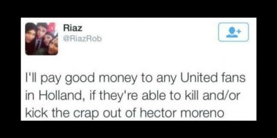 """""""Pagaré buen dinero para aficionados del United en Holanda si son capaces de matar o golpear a Héctor Moreno"""" Foto:Vía Twitter.com"""