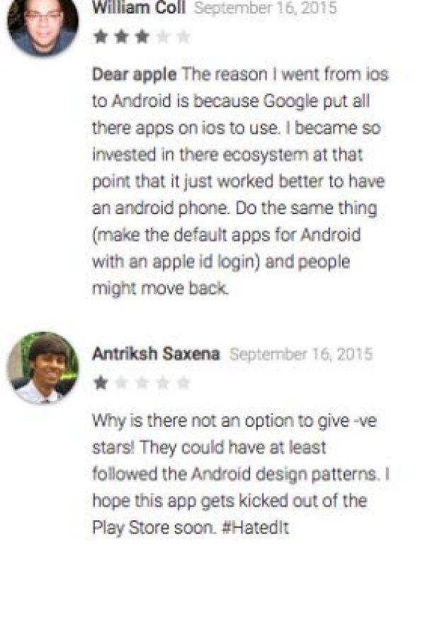 El primer usuario opina que Apple debería seguir el ejemplo de software libre de Google para que los usuarios usen iPhone. El segundo simplemente desea que quiten la aplicación de la tienda pronto Foto:Google Play