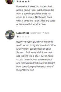 Mittal opina que la app funciona, que los comentarios en contra son favoritismos. Por el contrario Lucas Diego opina que Google no debería permitir estas cosas, por respeto propio Foto:Google Play