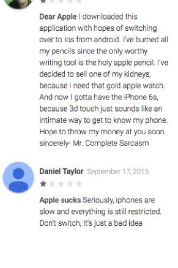 """Jonathan Perez opina, sarcásticamente, que espera ansioso la oportunidad de usar esta app. Llyr Jones dice: """"Android nunca podrá publicar este tipo de app en la App Store"""" Foto:Google Play"""