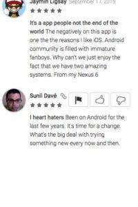 Jaymin Ligsay opina que Android es para jóvenes fanáticos inmaduros, mientras que Sunil Davé piensa que no hay razón por la cual cambiar de Android a iPhone Foto:Google Play