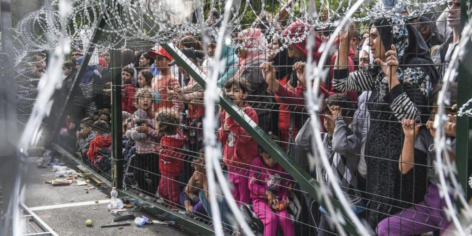Refugiados en la frontera de Hungría y Serbia. Foto:AFP