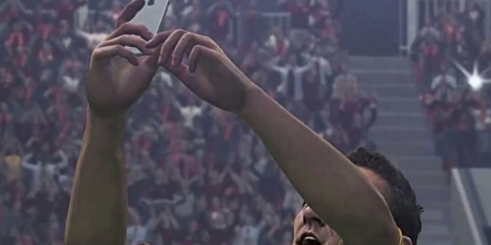 El festejo con selfie de Francesco Totti. Foto:Konami