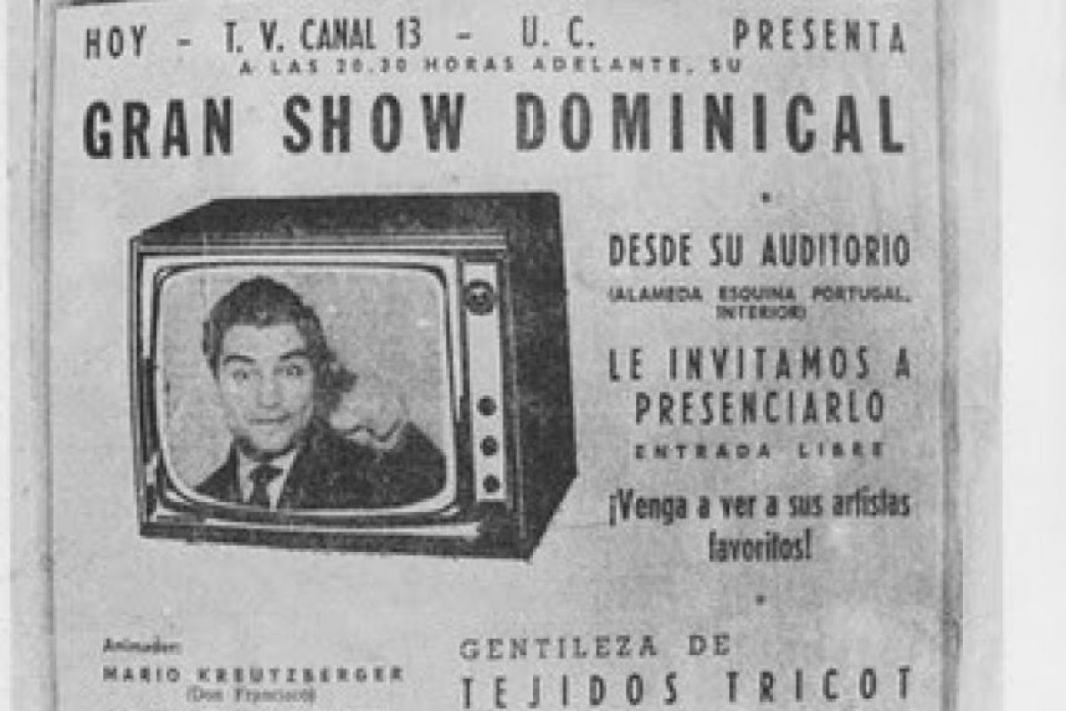 """6.- Su programa inicial, """"Show Dominical"""", nació en Santiago en 1962, después del Mundial de fútbol de Chile. Foto:Museodelaprensa.cl"""