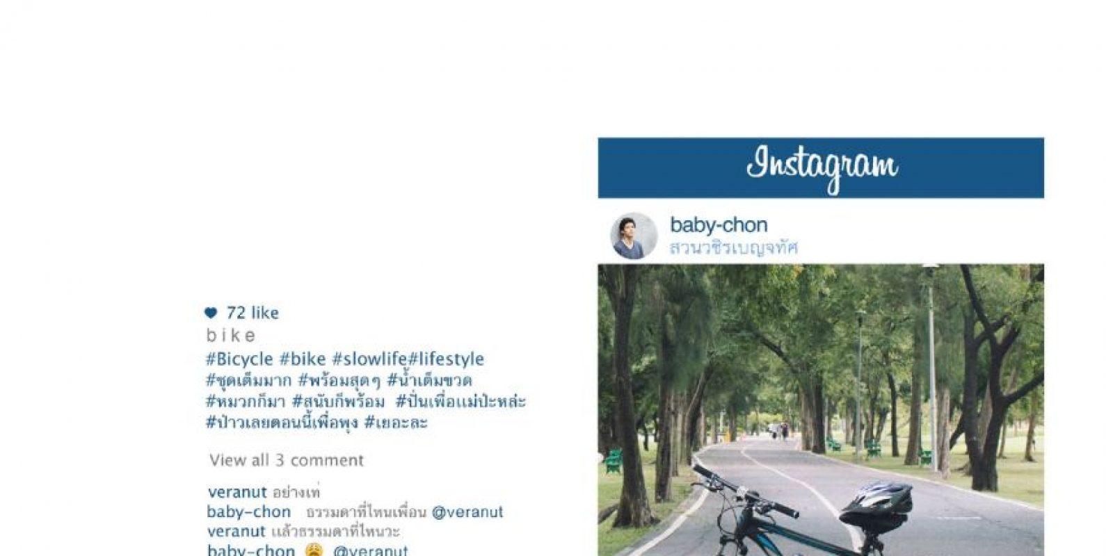 Bicicletas, para mostrar vida sana. Foto:vía Facebook/Chompoo Baritone