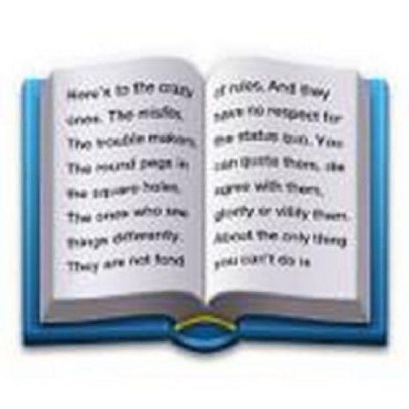 """Este libro contiene parte del comercial de Apple de 1997 llamado """"Piensa diferente"""". Foto:emojipedia.org"""