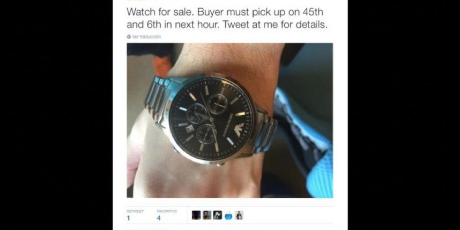 """""""Se vende reloj"""" Foto:Twitter.com/MartinShkreli"""