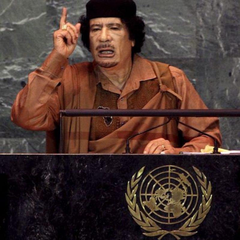 """Según narró Ban Ki-moon, Gadafi decidió hablar """"indefinidamente"""" y fue interrumpido a los 100 minutos, cuando su traductor se desvaneció de cansancio. Foto:Getty Images"""