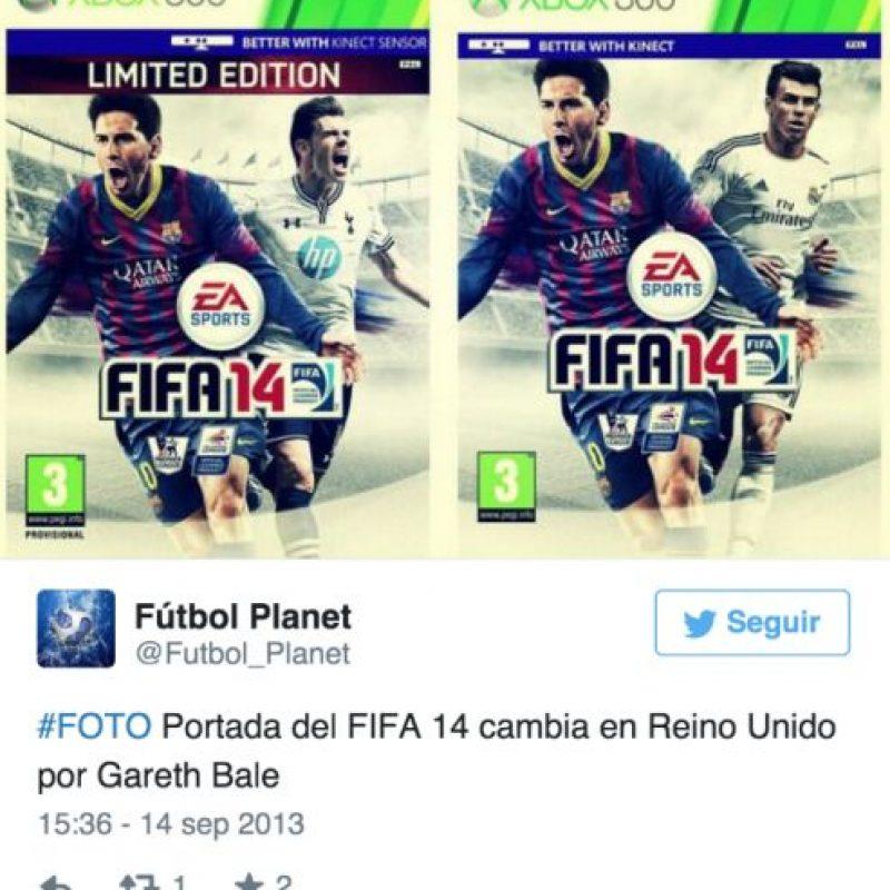 """5. Otros jugadores que han cambiado la portada del videojuego. Algo similar ocurrió en 2013, cuando Gareth Bale, quien militaba en el Tottenham de la la liga Premier de Inglaterra, fue fichado por el Real Madrid días antes de que el videojuego """"FIFA 14"""" fuera lanzado. Foto:Vía twitter.com"""