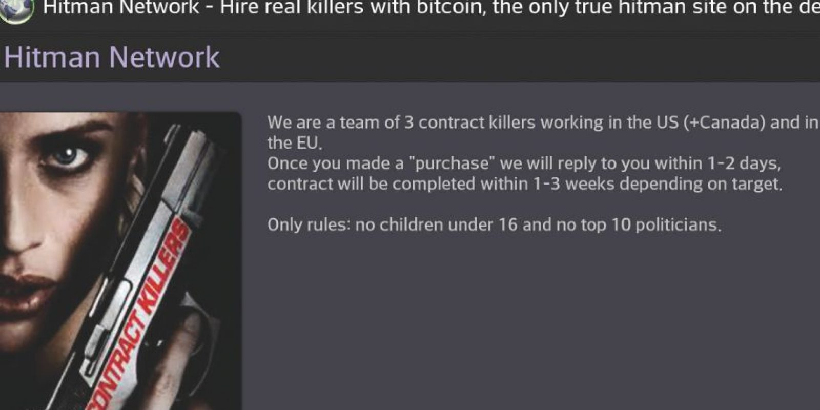 1. Red de asesinos a sueldo. Existen sitios web que funcionan como una plataforma de crowdfunding, pero para asesinatos Foto:Wikicommons