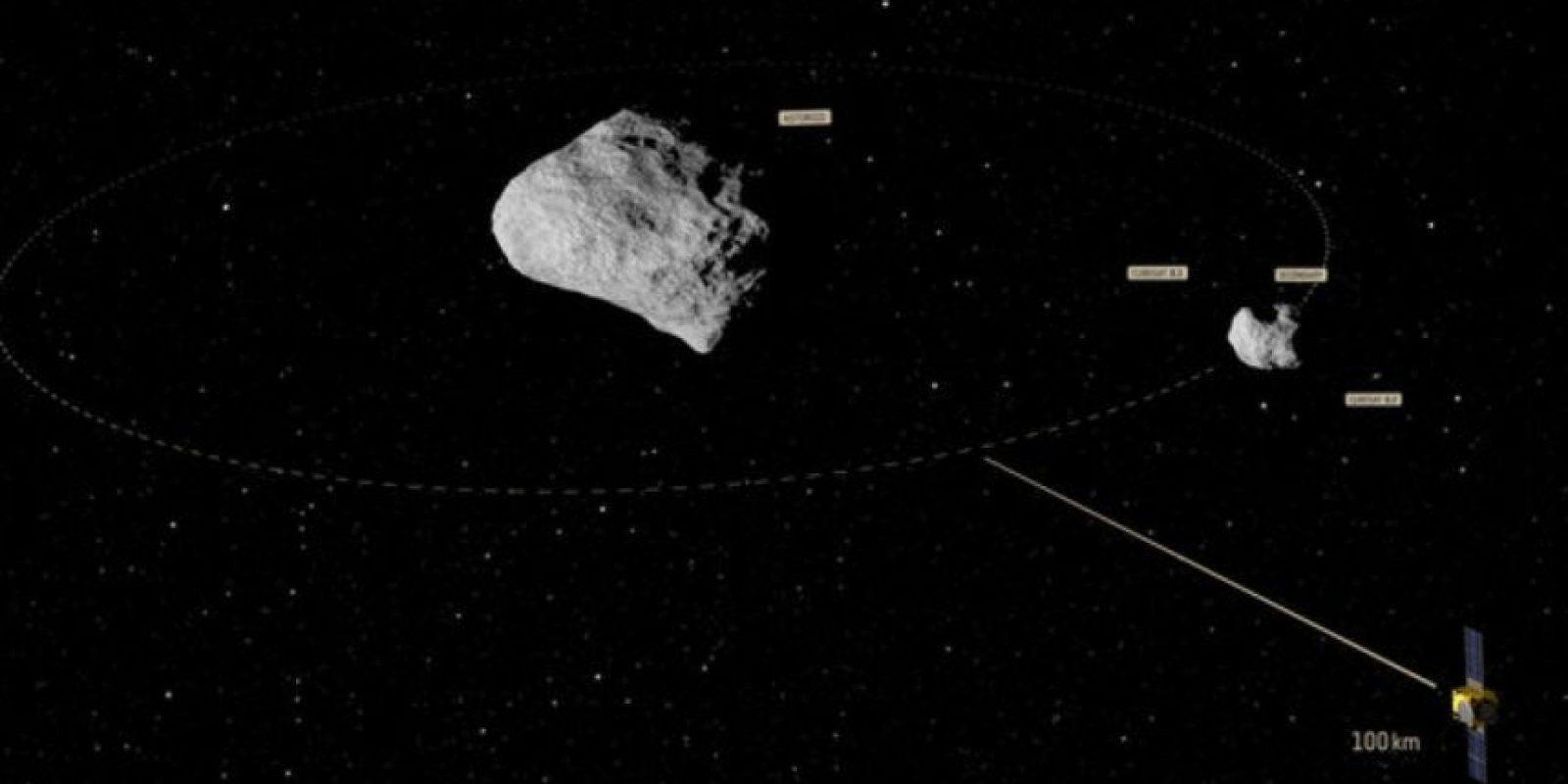 De acuerdo con los científicos, así luce el asteroide Didymos y su luna Didymoon. Foto:Vía esa.int