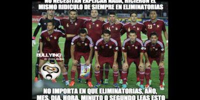 De paso, acabaron con Venezuela, que perdió 1-0 frente a Paraguay. Foto:Vía facebook.com/Bullying-del-Fútbol-Mundial-785576564852677