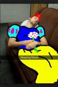 """""""Shaun durmiente"""" Foto:Snapchat"""