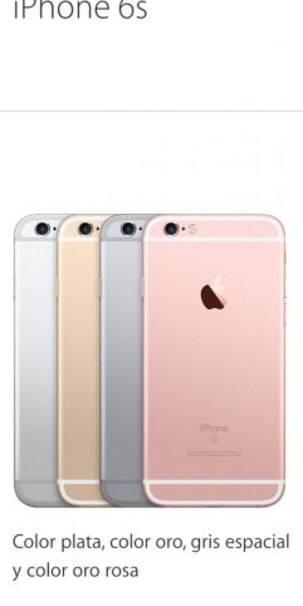 Los colores disponibles para iPhone 6s y 6s Plus Foto: Apple