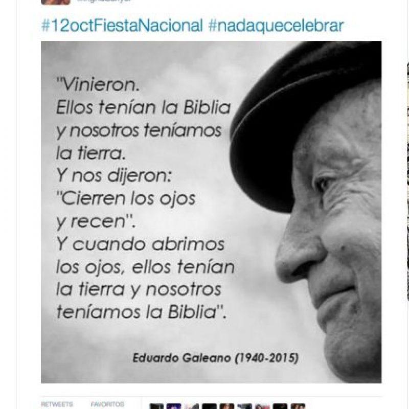 En redes sociales se recordaron textos del escritor Eduardo Galeano Foto:Twitter.com
