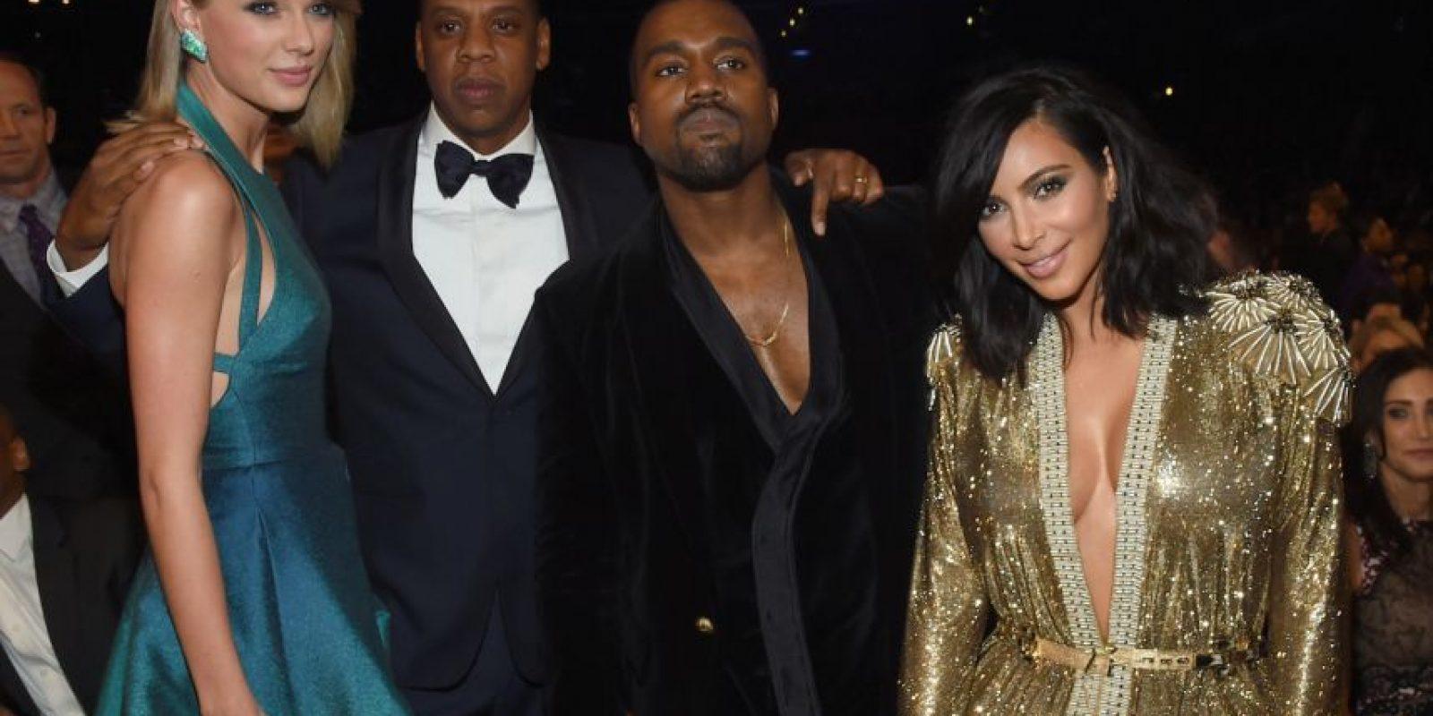 Taylor con Jay Z, Kanye West y Kim Kardashian Foto:Getty Images