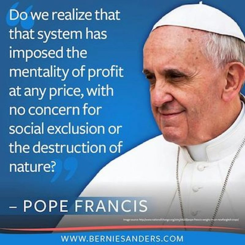 En la primera visita a Estados Unidos, Sanders adoptó frases del Papa Francisco a su discurso Foto:Instagram.com/berniesanders
