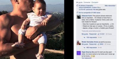 """Varios medios estadounidenses aseguran que el actor intenta """"esconder la panza"""" en esta imagen. Foto:Vñia facebook.com/VinDiesel?fref=ts"""