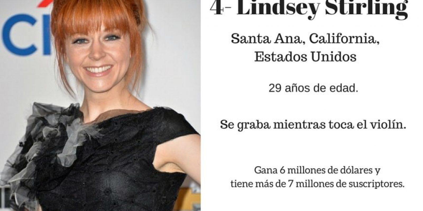 4- Lindsey Stirling: 6 millones de dólares. Foto:Especial / Getty Images