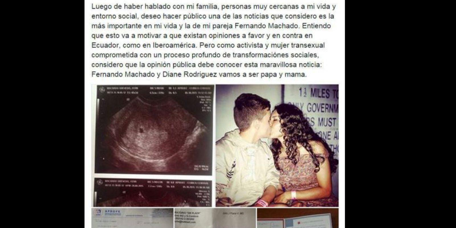 Entonces Diane compartió que Fernando estaba embarazado. Foto:vía Facebook/Diane Rodriguez