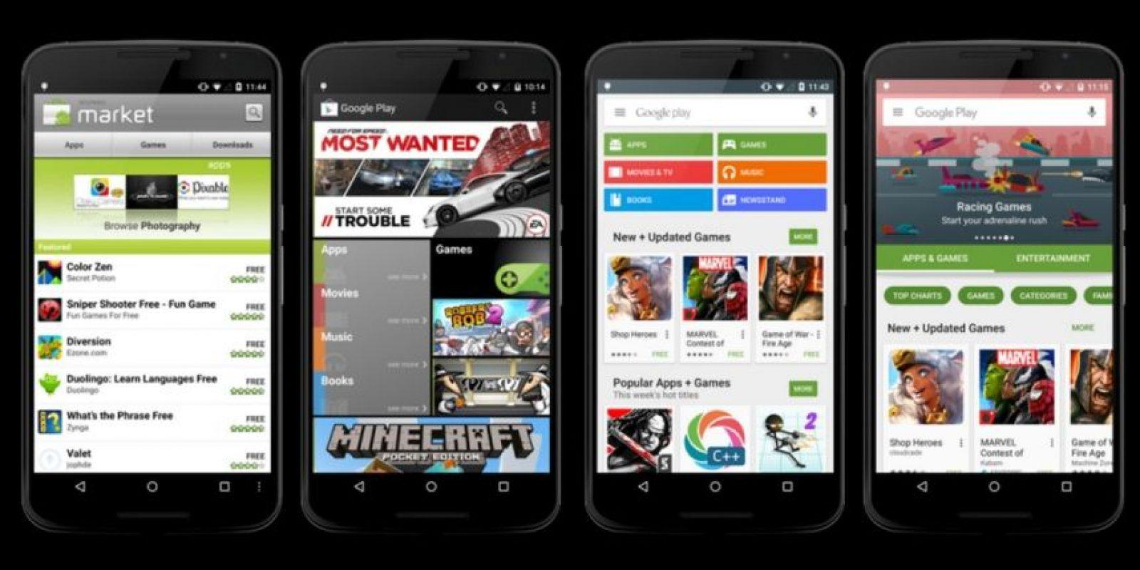 Así ha evolucionado la tienda de apps para Android. Foto:vía plus.google.com/+KirillGrouchnikov