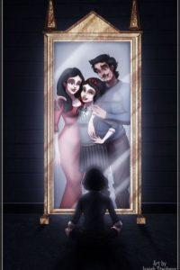 """""""Blanca Nieves"""" frente al espejo """"Oesed"""", que muestra los deseos de la gente. Foto:vía instagram.com/isaiahks_art"""