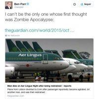 """""""No puedo ser el único al que su primer pensamiento fue un Apocalipsis Zombie"""", escribió Ben Parr, editor de sitios como Mashable y CNET Foto:Twitter.com"""