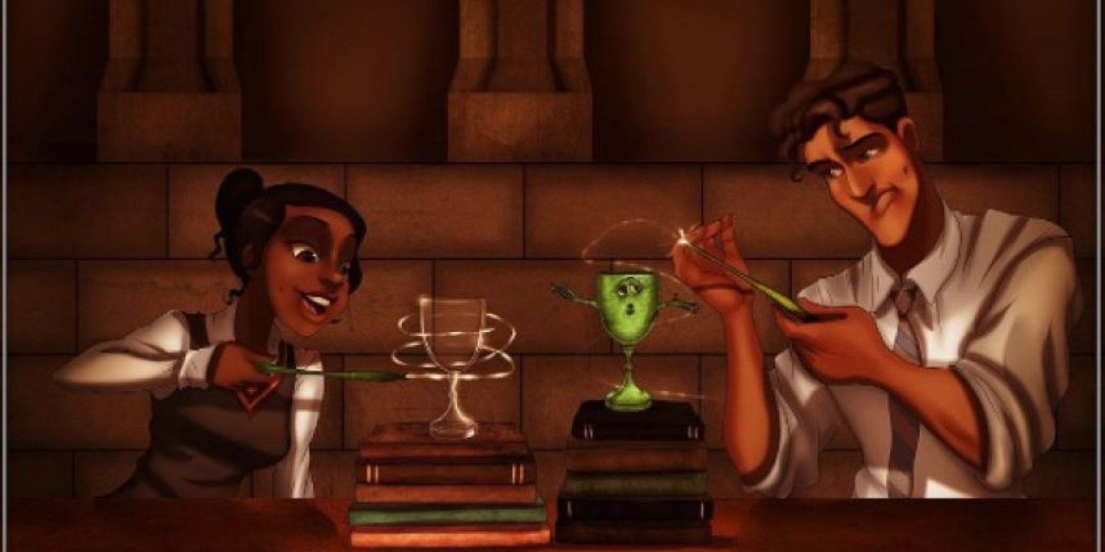 """Mientras """"Tiana"""" y """"Naveen"""" practican sus pociones. Foto:vía instagram.com/isaiahks_art"""