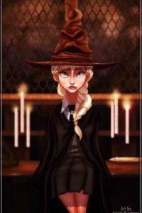 """""""Elsa"""" de """"Frozen"""" con el sombrero seleccionador Foto:vía instagram.com/isaiahks_art"""