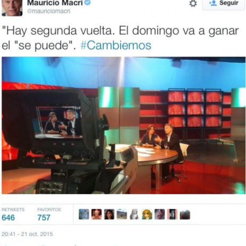 """Mauricio Macri, de la alianza """"Cambiemos"""" Foto:Twitter.com"""