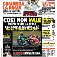 """La Gazzetta dello Sport (Italia): """"Así no vale. Rossi pierde la cabeza y se juega el mundial. Pero empezó Márquez"""". Foto:www.gazzetta.it"""