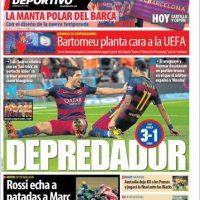 """Mundo Deportivo (España): """"Rossi echa a patadas a Marc. El italiano pierde los papeles, le tira y saldrá último en Cheste"""". Foto:mundodeportivo.com"""