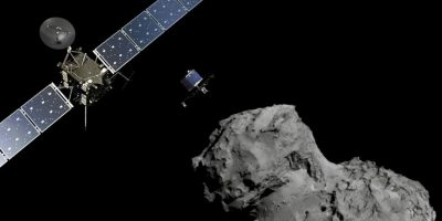 Así es como la sonda Rosseta sigue el curso del cometa y lo analiza. Foto:Vía sci.esa.int/rosetta
