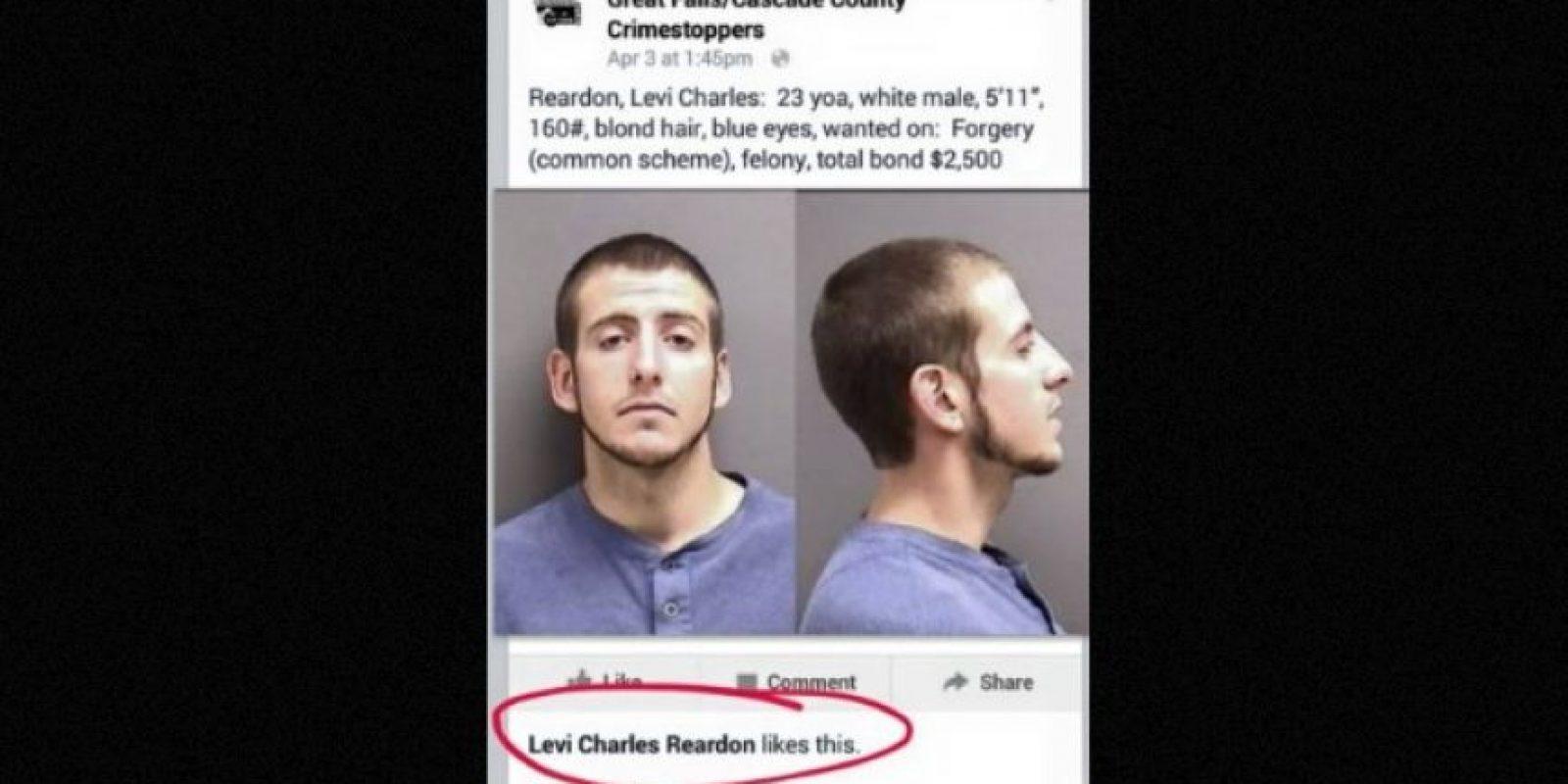 """Joven detenido por darle like a su propio """"se busca"""" Foto:Facebook.com/GreatFallsCascadeCounty"""