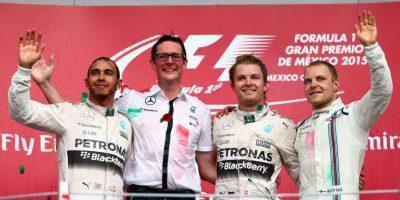 Al podio también subieron el actual campeón, Lewis Hamilton, y el finlandés Valtteri Bottas Foto:Getty Images