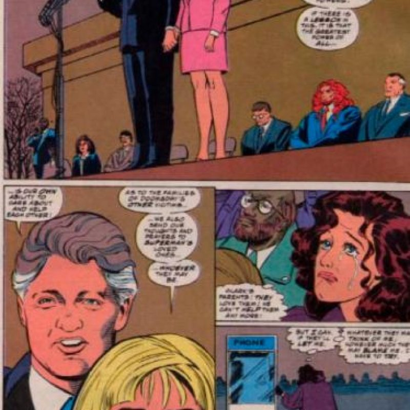 """Bill Clinton y Hillary aparecieron en un cameo especial para """"La Muerte de Superman"""", en 1992. Foto:vía DC Cómics"""