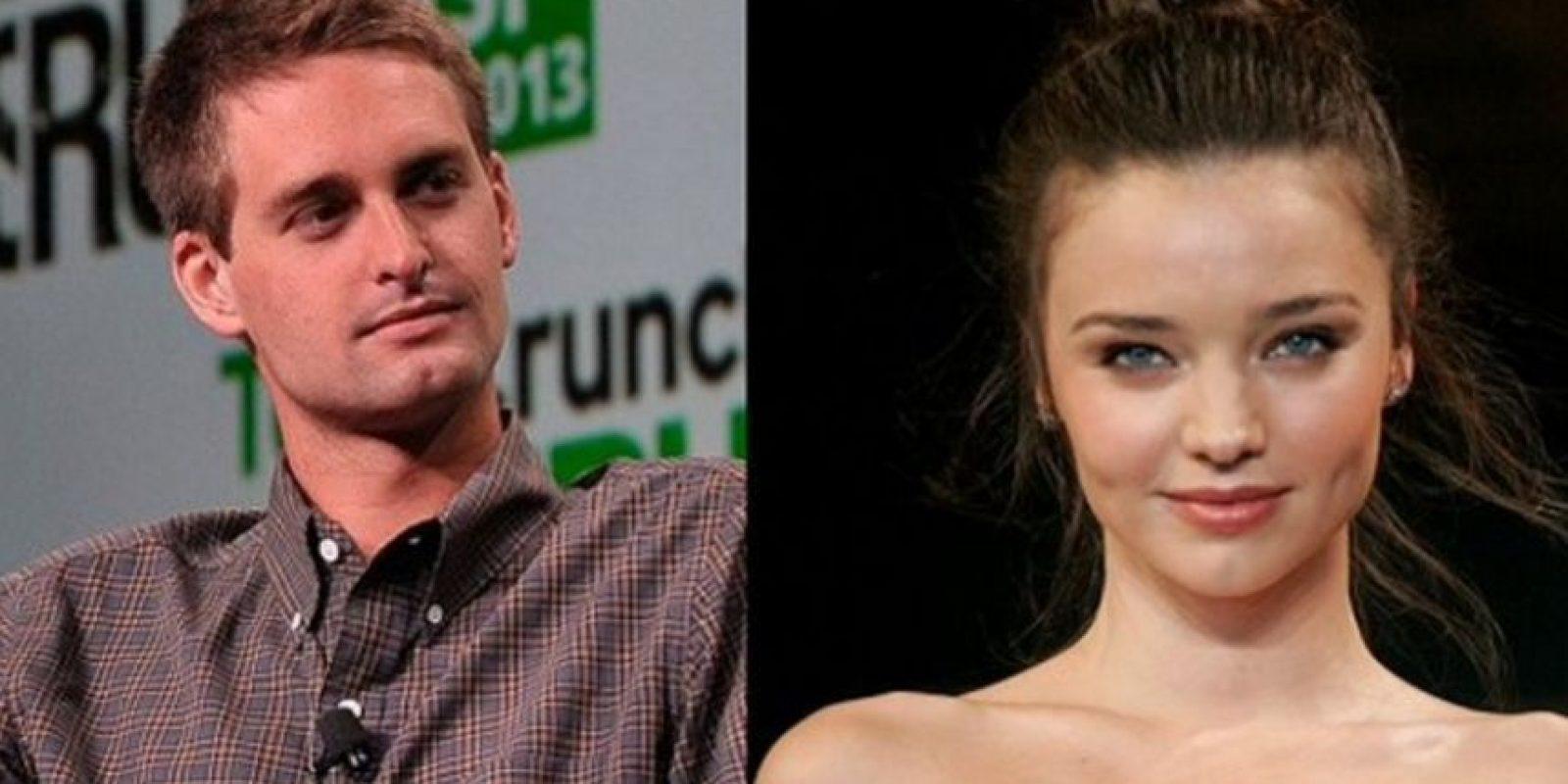 2- Evan Spiegel (Snpachat) y Miranda Kerr. Foto:Getty Images