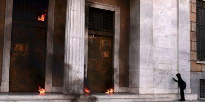 Protestas en el Banco de Grecia Foto:AFP