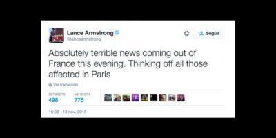 Lance Armstrong: Noticias realmente terribles vienen de Francia esta noche. Pienso en todos los afectados en París. Foto:Vía twitter.com/lancearmstrong