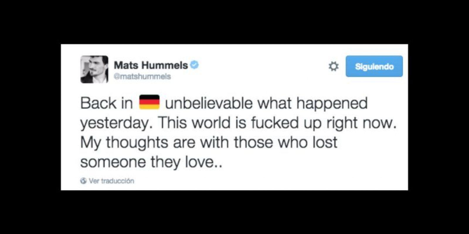 Mats Hummels: De nuevo en Alemania. Increíble lo que pasó ayer. Este mundo está jodido ahora. Mis pensamientos están con aquellos que perdieron a las personas que aman. Foto:Vía twitter.com/matshummels