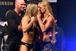 Las cosas estuvieron cerca de salirse de control en la ceremonia de pesaje de UFC 193. Foto:Getty Images