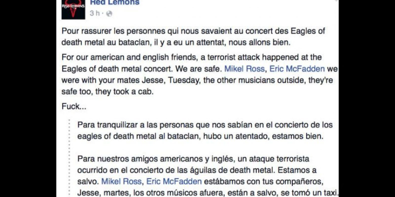 "La banda Red Lemons afirma que la banda ""Eagles of Death Metal"" está segura. Foto: vía Facebook"