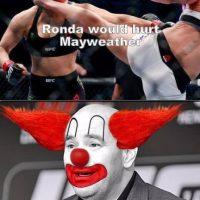 """""""Ronda puede lastimar a Mayweather"""". Foto:Vía facebook.com/MemesMMA"""