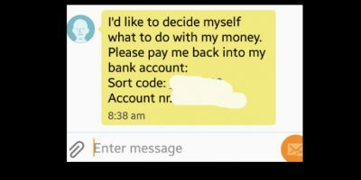 El patán le responde diciéndole que él hace con su dinero lo que le viene en gana y le envía la cuenta. Todo se hizo viral. Foto:vía Tumblr