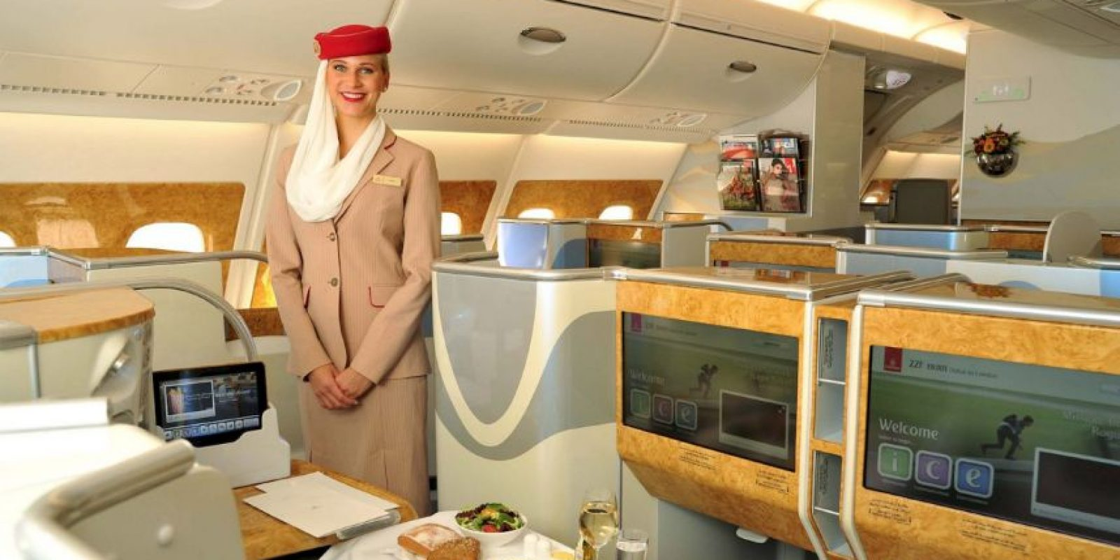 Para adquirir espacio se eliminaron las duchas y algunos asientos de la clase 'business' Foto:Vía facebook.com/Emirates