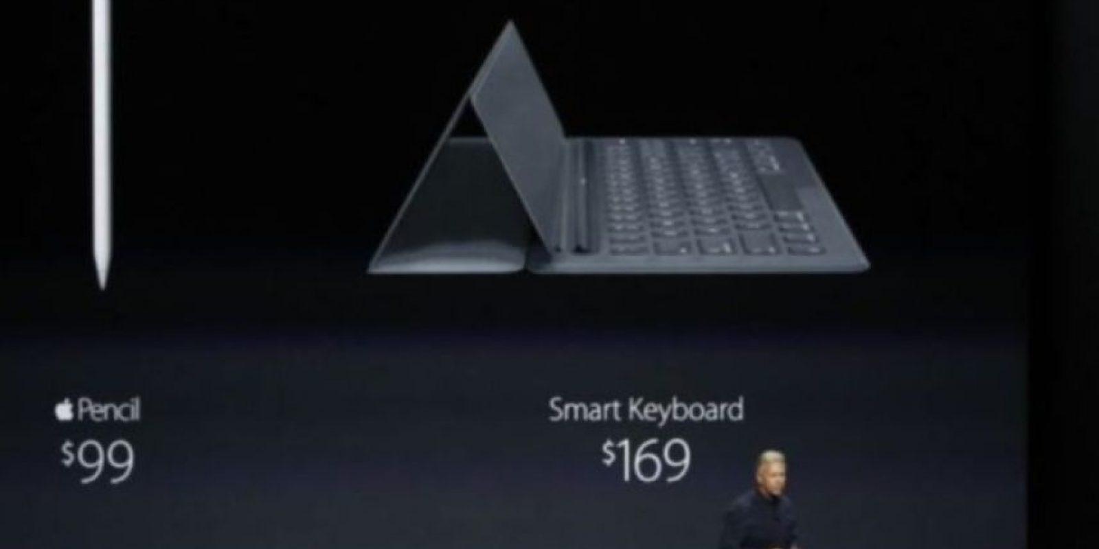 Apple Pencil tiene un costo de 99 dólares, mientras que 169 dólares por el Smart Keyboard. Foto:Apple